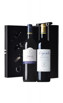 【礼盒套装】法国拉菲传奇波尔多红葡萄酒+拉菲传说波尔多红葡萄酒+经典黑色双支皮盒(带酒具,有提手)