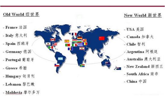 旧世界与新世界葡萄酒地图